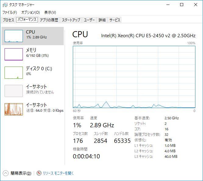 DELL PowerEdge T420 E5-2450 v2 @ 2.5GHz 2ソケット 16コア 32スレッド メモリ192GB